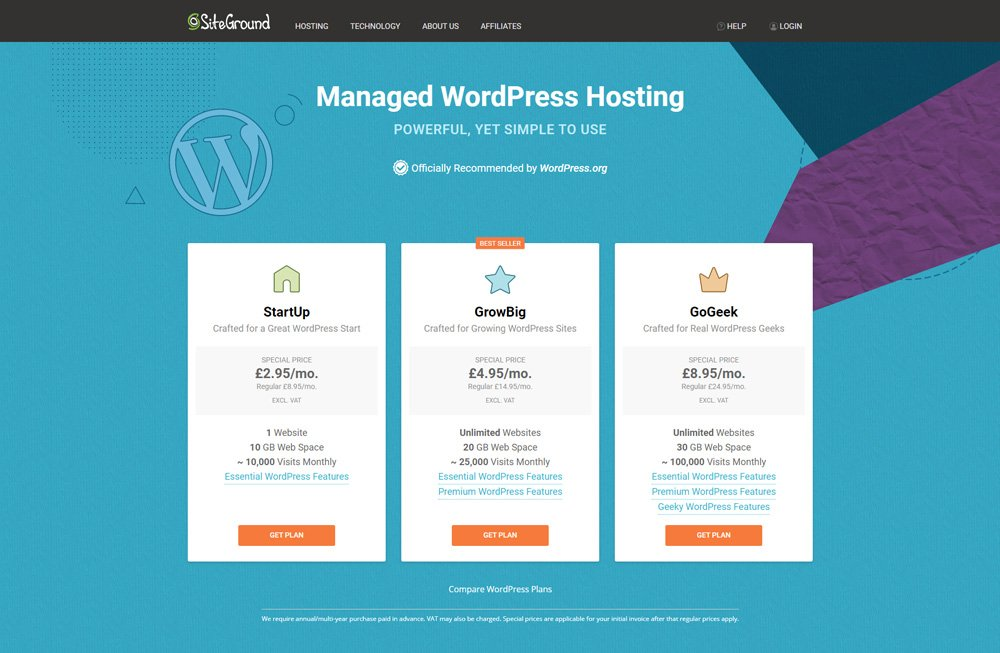 The StartUp, GrowBig & GoGeek packages for Managed WordPress Hosting on Siteground. How to start a new blog.