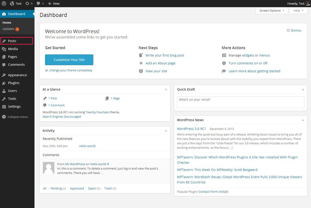 WordPress admin dashboard.