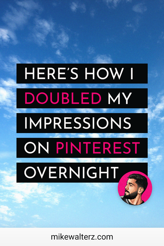 Struggling with low impressions, reach, views, clicks and traffic on Pinterest? Well not to worry, as this article explains the two simple ways that I doubled my impressions on Pinterest overnight! Click on this pin and 2X your Pinterest reach today! Pinterest Tips // Bloggers on Pinterest // How to use Pinterest for Blogging // How to use Pinterest for Business // Pinterest for Bloggers #Instagram #InstagramBusiness #InstagramTips